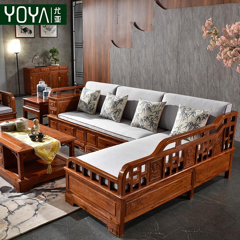 券后23800.00元红木家具实木沙发组合新中式贵妃储物刺猬紫檀花梨木客厅小户沙发