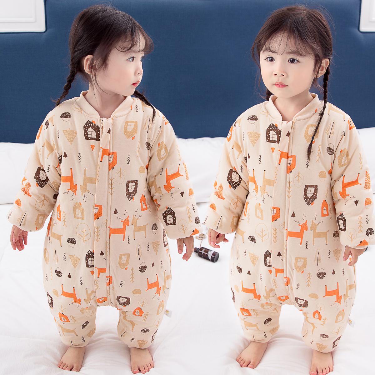新生婴儿纯棉睡袋宝宝秋冬季加棉加厚连体睡衣四季通用分腿防踢被