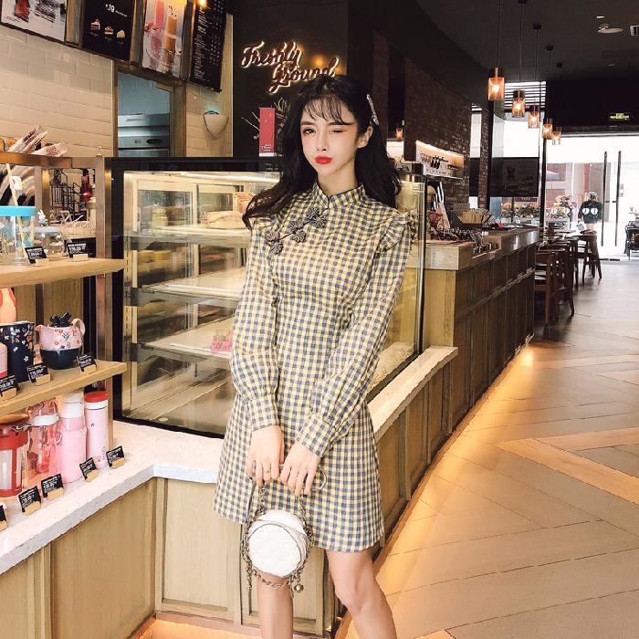 限7000张券秋季旗袍长袖优雅复古改良版连衣裙