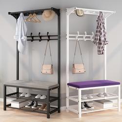 换鞋凳鞋柜家用挂衣架一体进门口玄关多功能可坐收纳软包坐垫鞋架