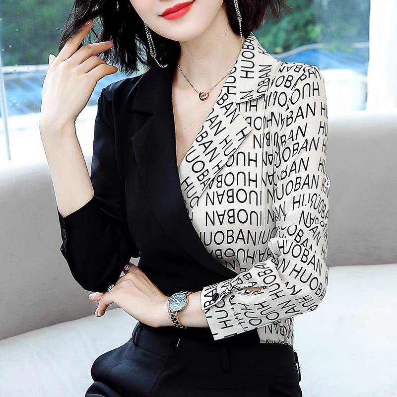 衬衫女设计感小众2019秋季新款韩版时尚拼接收腰衬衣心机洋气上衣