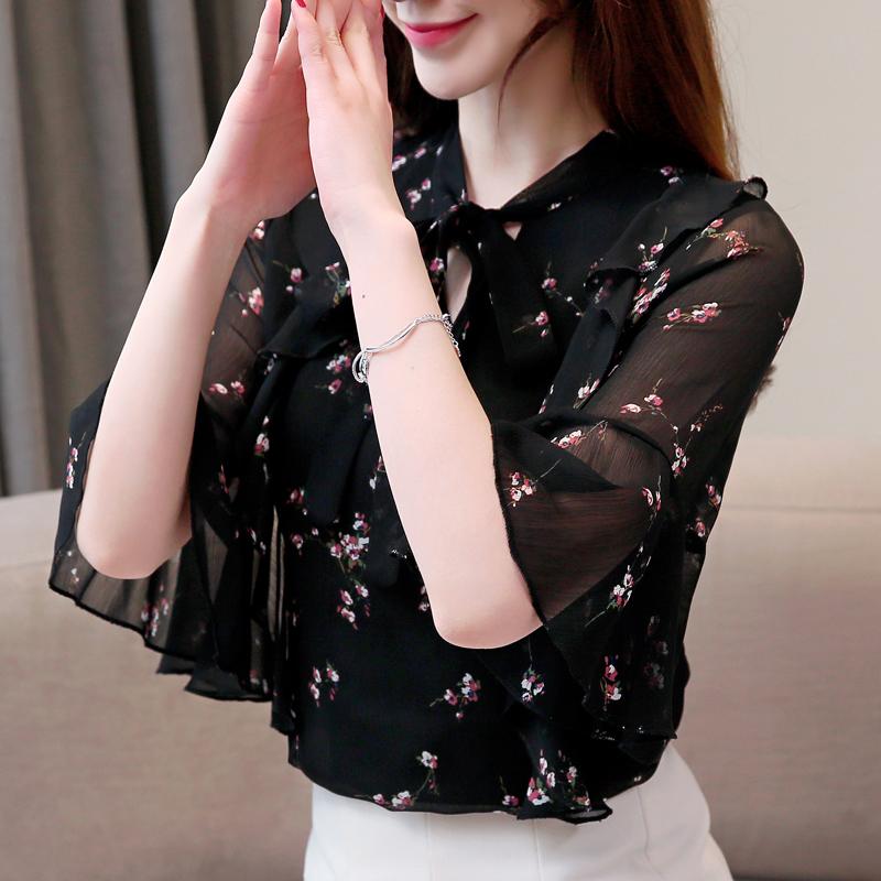 碎花雪纺衫女短袖2020夏装新款高档洋气衬衫大码遮肚上衣显瘦小衫