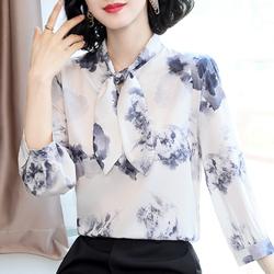 洋气雪纺衬衫女短袖夏2020年新款蝴蝶结水墨印花宽松遮肚碎花上衣