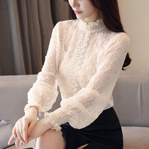 Foreign gas small shirt female long sleeve 2018 autumn and winter new Korean version hundred lace Velvet bottom shirt net yarn chiffon top