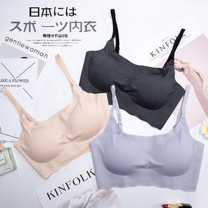 日本运动内衣女无钢圈薄款无痕胸罩背心式聚拢防下垂学生少女文胸