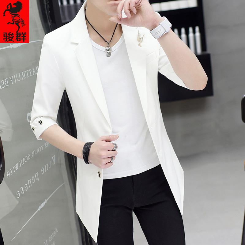 小西装男修身中长款夏季七分袖白西服韩版潮流发型师外套中袖男装