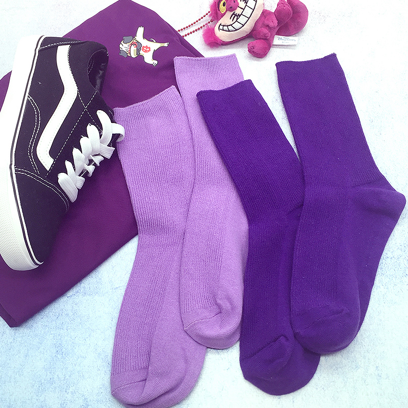 Socks, womens stockings, middle tube, INS, tide pile, stockings, solid color, net red, cotton stockings, autumn and winter, purple stockings, elegant style