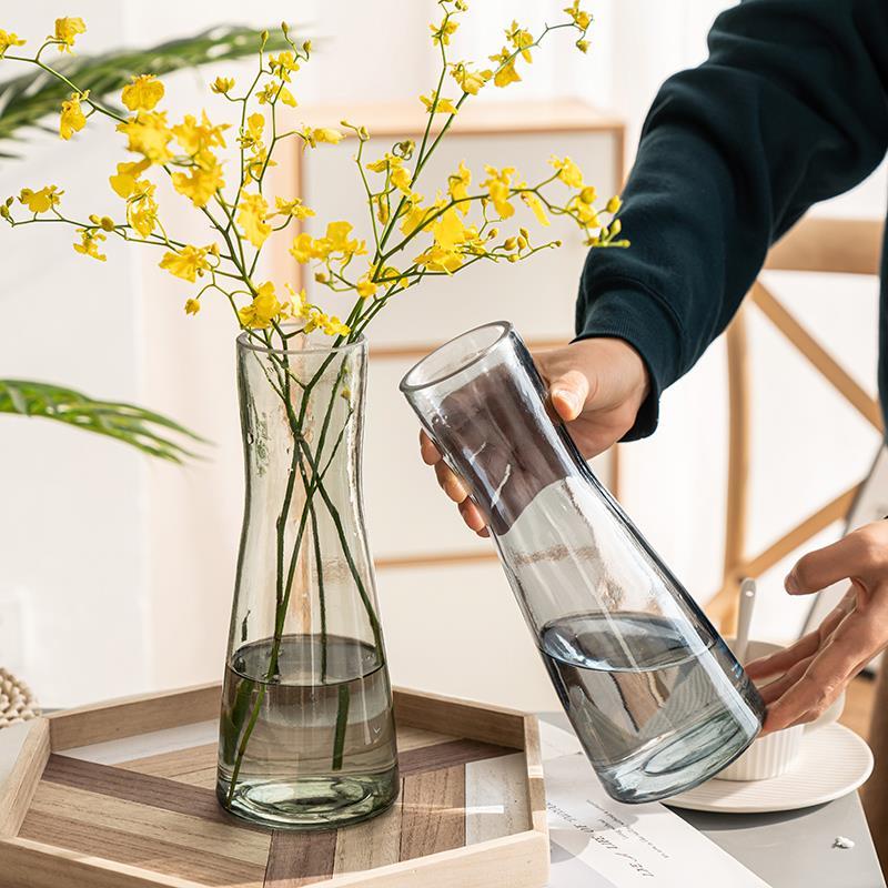 中國代購|中國批發-ibuy99|摆件|创意简约北欧风束口玻璃花瓶网红花器鲜花干花插花瓶客厅装饰摆件