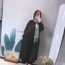 2019 double faced wool cashmere medium length overcoat over knee Hepburn wool overcoat women's loose Korean fanins