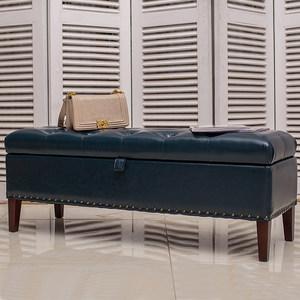 歐式床尾凳實木布藝沙發腳凳收納箱凳床頭床邊凳美式換鞋凳服裝店