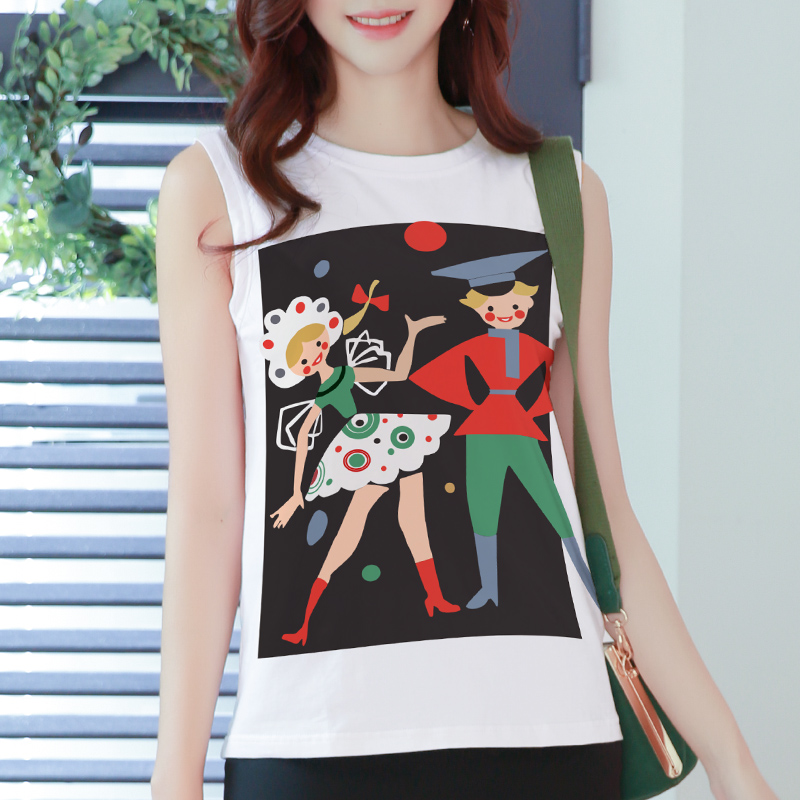 Loose sleeveless T-shirt womens Vest short cotton white top 2018 new summer BF pattern print