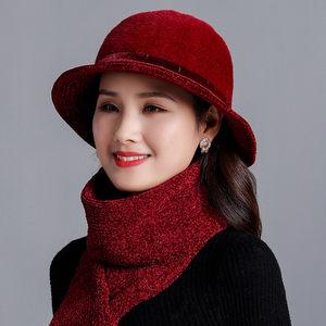 中老年人秋冬帽子女针织盆帽兔毛老太太毛线帽老人奶奶妈妈渔夫帽