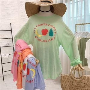 337# 夏季新款韓版薄款冰絲棉女長袖防曬衣可愛水果印花學生上衣