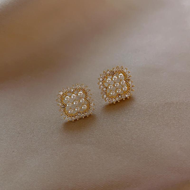 夏天夸张冷淡风高级感精致方形几何珍珠耳钉纯银耳饰耳环时尚个性
