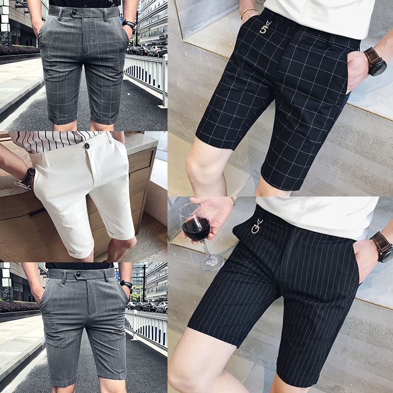 Net red stripe Plaid casual suit shorts mens 5-point pants slim fit British Korean 3-point pants fashion brand ins