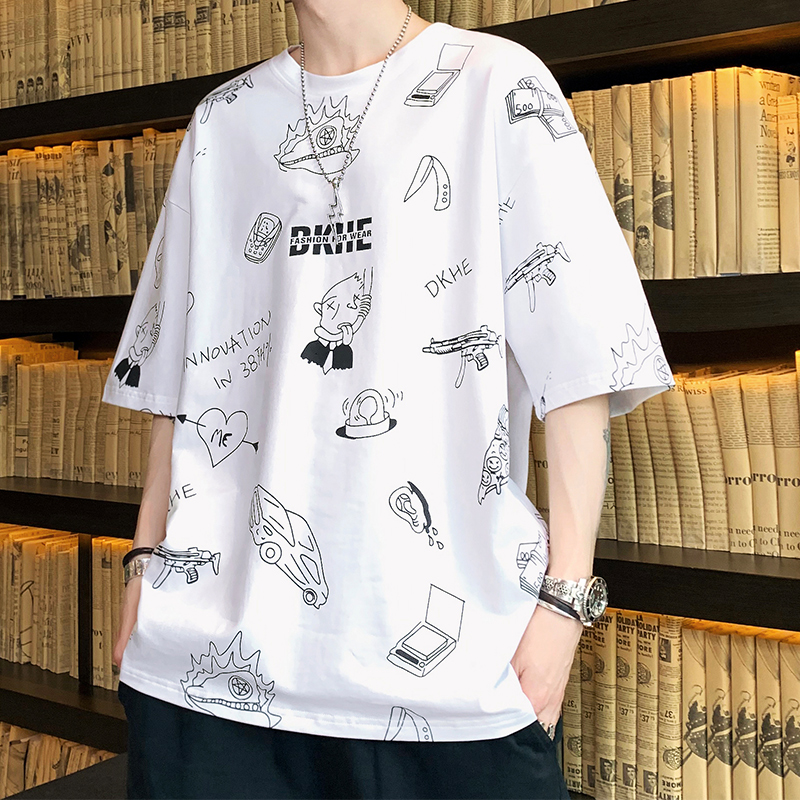 Short sleeve T-shirt cotton mens trend 5 points on clothes mens 5-point sleeves loose half sleeves fashion brand students cartoon sleeves