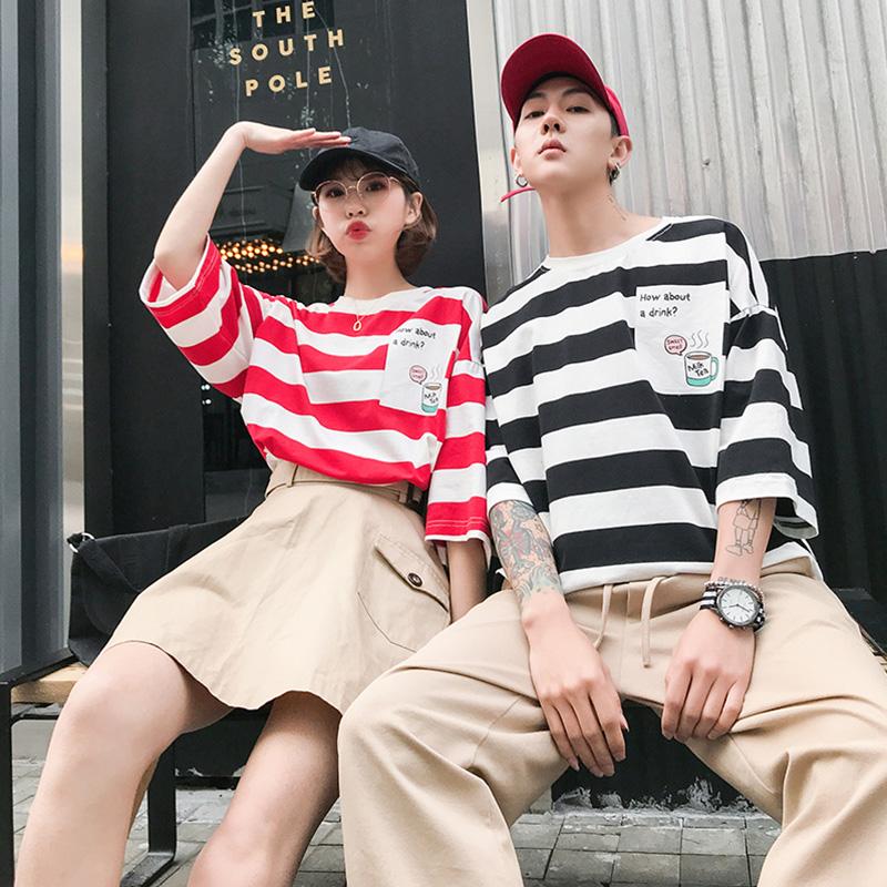 Couples short sleeve T-shirt summer stripe Hong Kong Style ins super hot boys and girls BF Korean loose Quarter Sleeve Top
