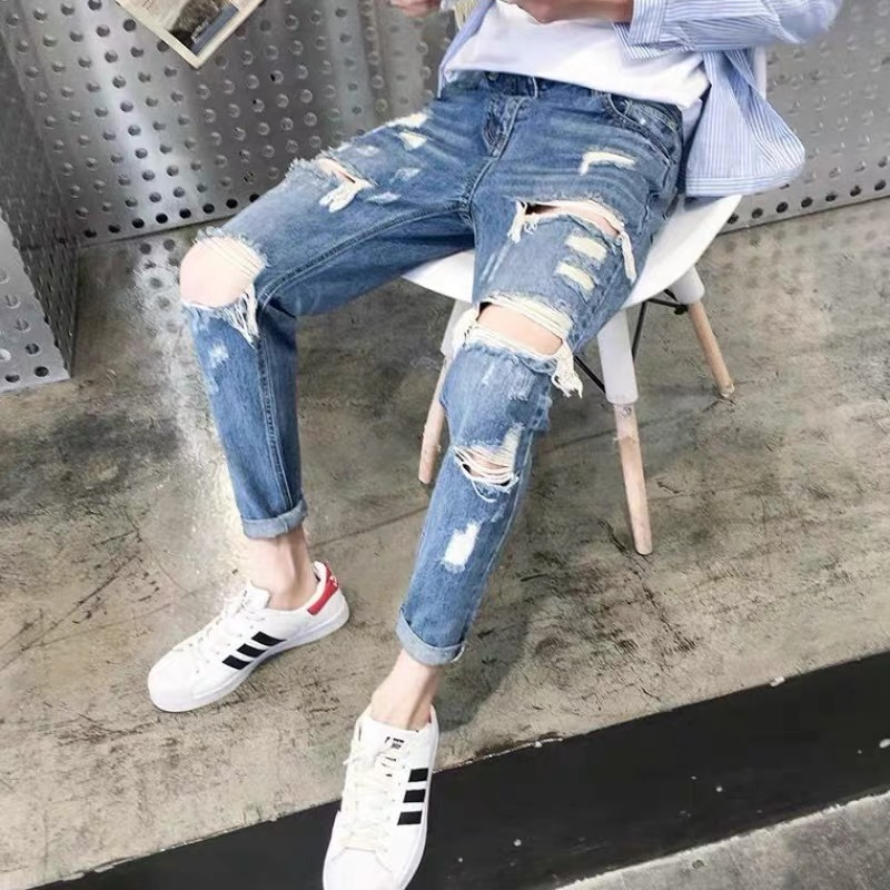 Broken hole denim pants mens fashion brand Korean version trend versatile small feet scraped nine point beggars pants for mens spring and summer