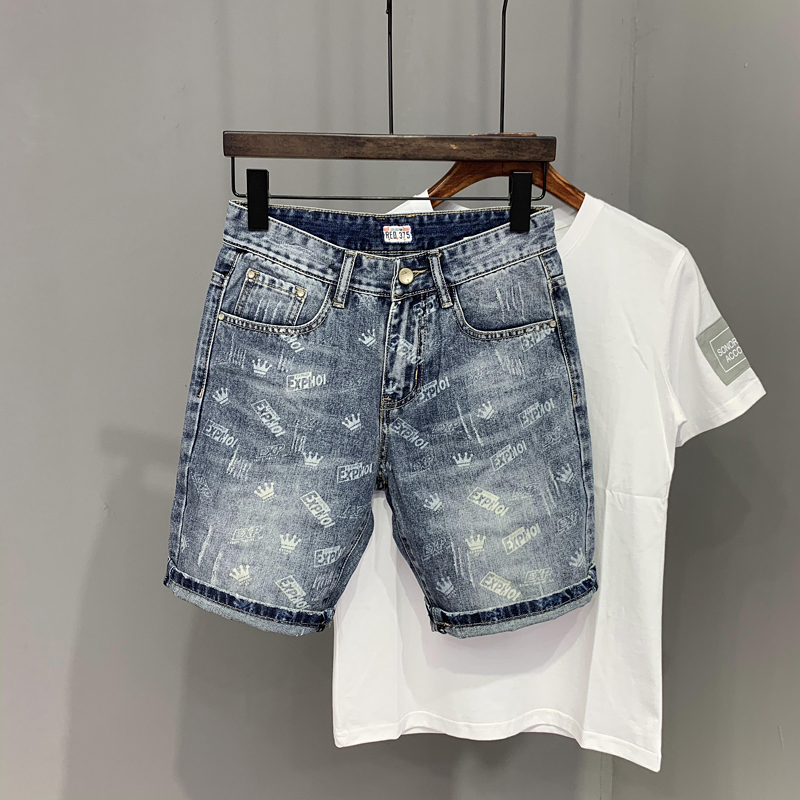 Denim shorts mens new personalized print in summer 2020