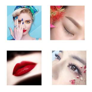 美容院背景牆掛畫養生館貼畫眉眼唇組合牆壁裝飾畫美甲美睫宣傳畫