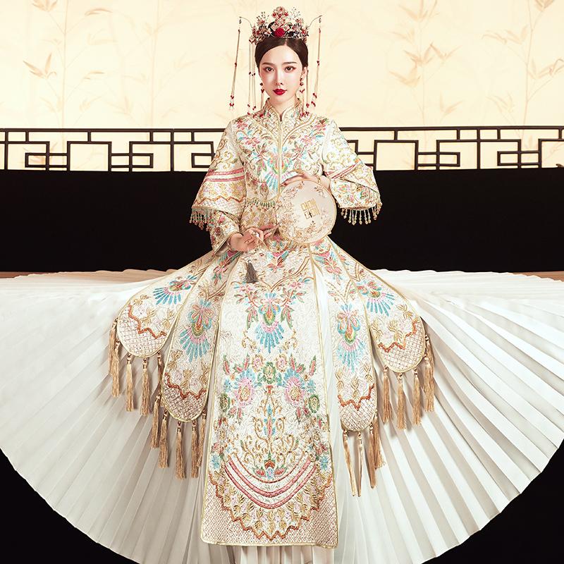 限100000张券秀禾服新娘2019新款香槟色结婚婚纱