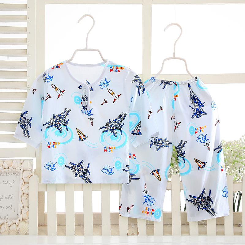 儿童睡衣夏季薄款男女宝宝长袖家居空调服中大童绵绸套装棉绸童装