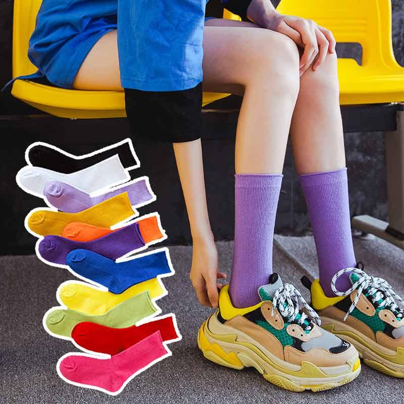 10月22日最新优惠子女中筒薄款百搭糖果彩色潮堆堆袜