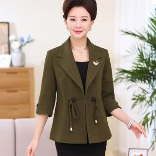 中年女装秋季新款时尚小西装中老年女装春秋装短款修身外套
