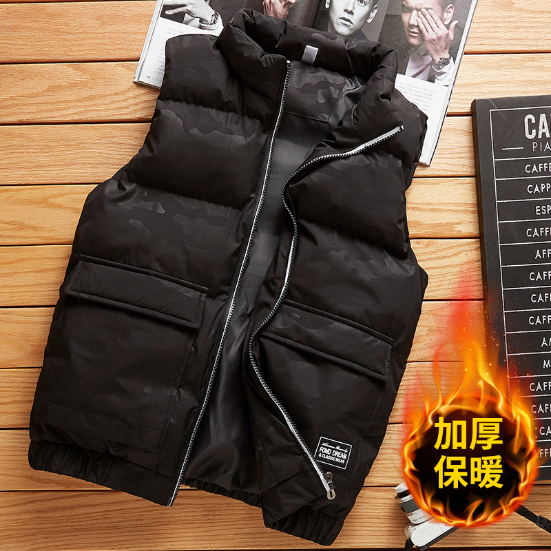 Men's vest, autumn and winter jacket, top, warm vest, shoulder, casual work clothes, down cotton waistcoat, men's fashion