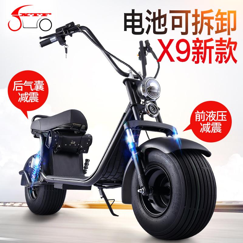 哈雷电动车电瓶车大宽轮胎成人滑板跑车电动自行车双人踏板摩托车