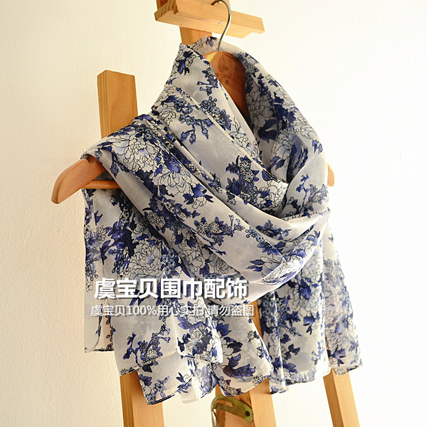 Hangzhou silk scarf blue and white porcelain silk scarf real silk womens thin mulberry silk shawl national style scarf gift for foreigners