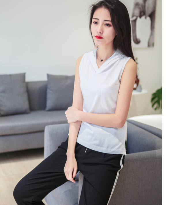 Postal spring and autumn modal slim bottomed shirt casual sleeveless T-shirt Hoodie womens tight hooded top