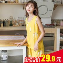 夏季无袖棉绸睡衣女2021年新款两件套装夏天薄款宽松人造棉家居服