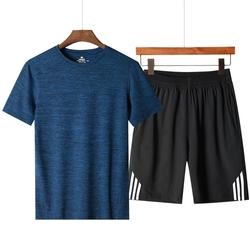 中老年短袖t恤男士速干衣服40-50岁夏季休闲运动冰丝套装爸爸夏装