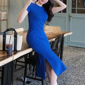 纯棉针织包臀连衣裙修身长款显瘦开叉紧身短袖韩版侧开圆领过膝裙