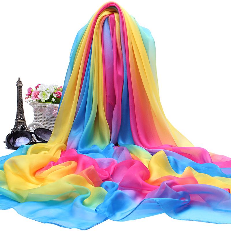 彩虹丝巾女百搭春秋冬季围巾夏天轻薄款纱巾秋款洋气时尚披肩长款五折促销