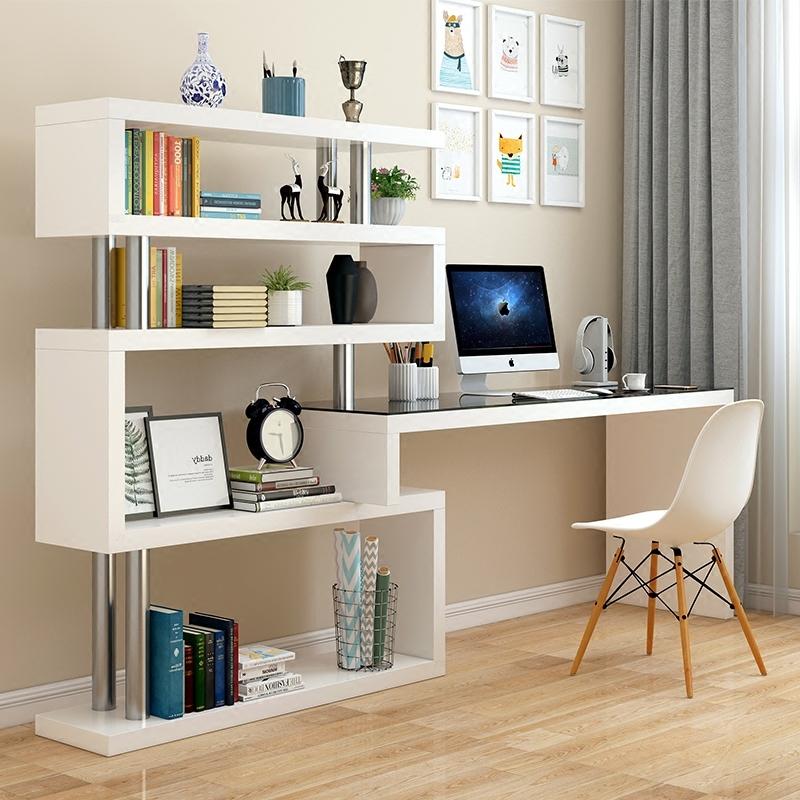 旋转电脑台式桌子家用转角书桌书架组合简约书柜办公桌学生一体桌