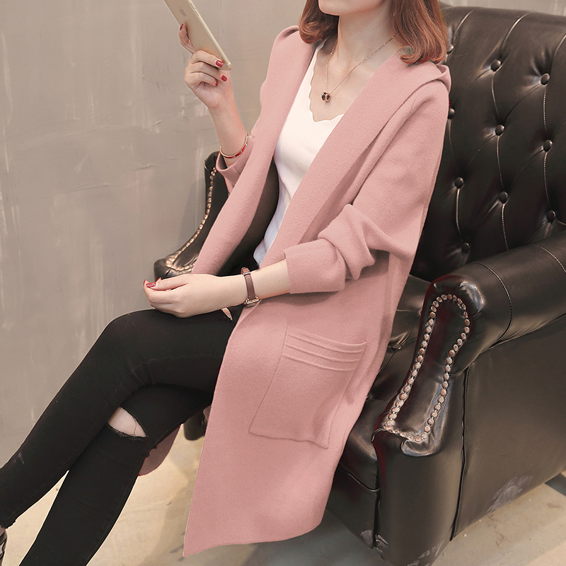 Double sided tweed cardigan coat womens middle and long style new loose fashion hooded Knitted Top in spring 2021