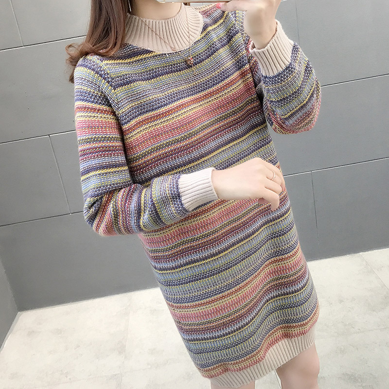 Medium and long high neck sweater womens new loose long sleeve thickened striped knitted bottomed dress in autumn and winter 2020