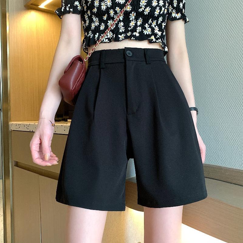 夏季薄款五分裤宽松垂感西装短裤女2021新款黑色中裤高腰阔腿裤子