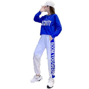 嘻哈運動套裝男女2020春秋新款寬鬆港味休閒街舞曳步舞衞衣兩件套