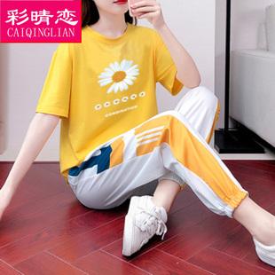 青少年运动套装少女夏装2020新款初中高中学生宽松短袖休闲两件套