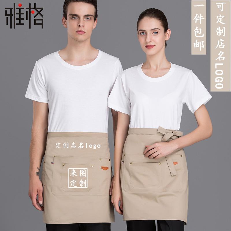 レストランのコックの作業服のデニムの半身エプロンの男性のカステラのホテルの厨房の黒色の綿布の短い半分は腰を巻いて厚いです。