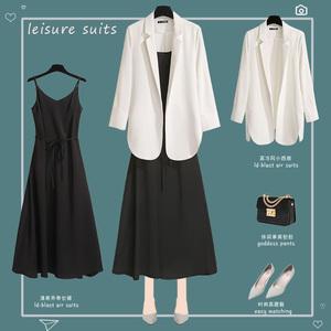 2020春夏新款网红白色薄款雪纺小西装外套女气质休闲chic防晒西服图片