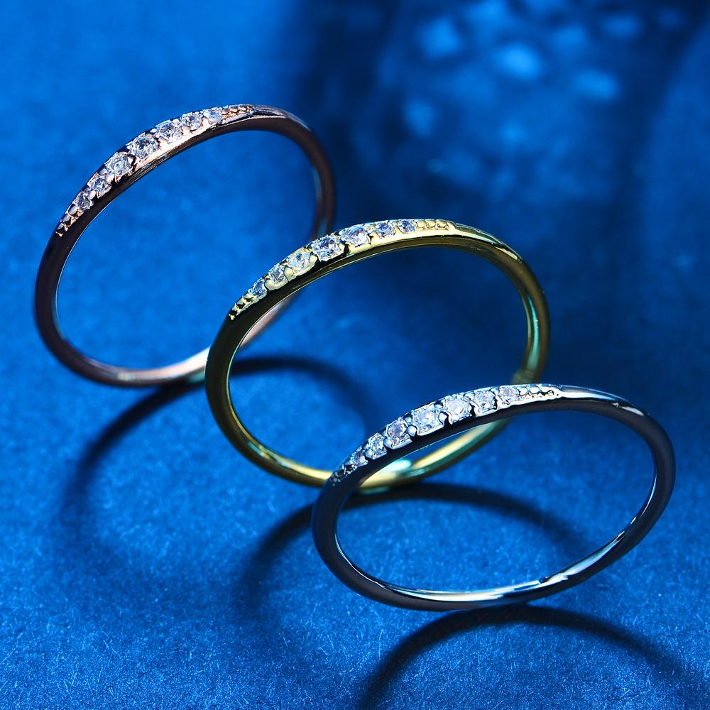 电镀银仿银饰品新款首饰时尚镶钻情侣戒指女指环S925银针流行饰品