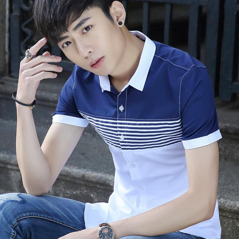 青年短袖衬衫夏季男装深蓝色精神小伙子年轻人帅哥寸衣热天上衣服