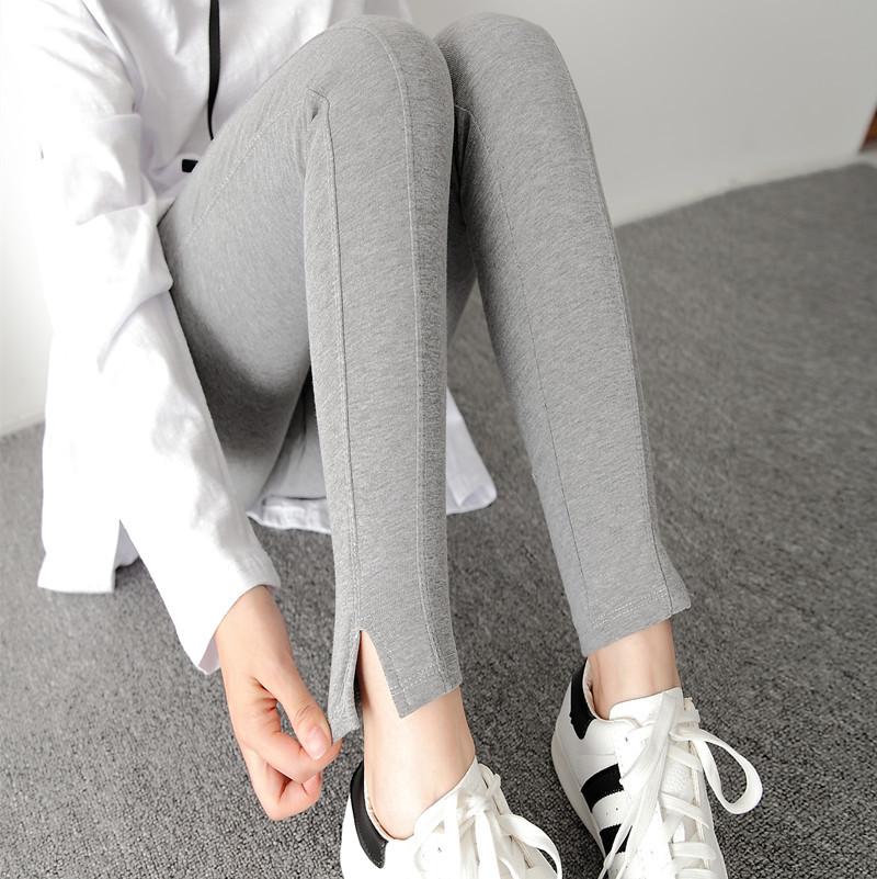 2018新款春季棉开叉打底裤女外穿薄款修身韩版大码九分小脚裤灰色