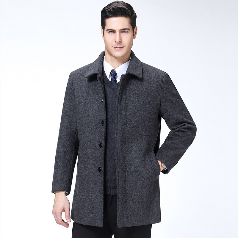 Business casual tweed jacket mens middle-aged short wool coat warm thickened woolen coat mens father winter