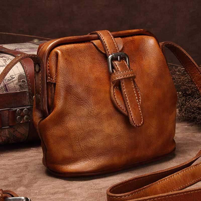 Retro bag leather womens Bag Mini Bag small bag doctors Bag Messenger Bag womens bag single shoulder leather 2020 NEW