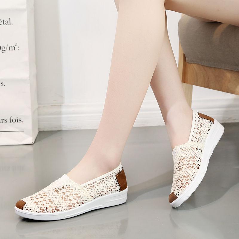夏季新款老北京平底网面镂空布鞋